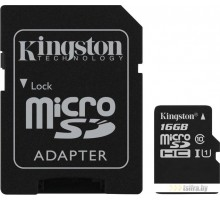 Карта памяти Kingston Canvas Select SDCS/16GB microSDHC 16GB (с адаптером)
